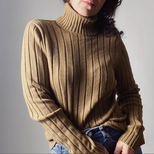 ESCADA Wide Ribbed Turtleneck Choco Cashmere Silk